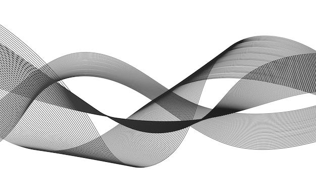 白い背景の上のモノクロ波グラデーション線と抽象的な背景。現代の技術の背景、波のデザイン。ベクトルイラスト