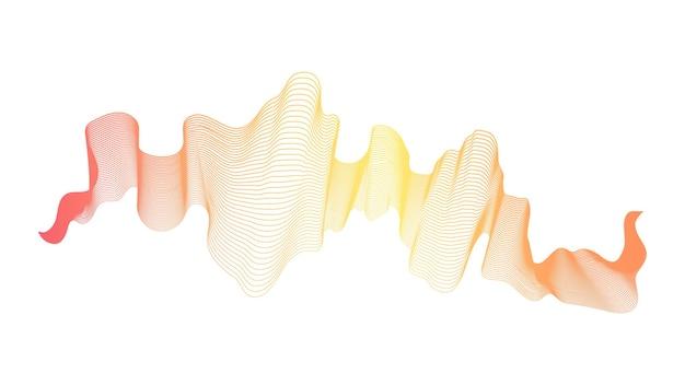 Абстрактный фон с линиями градиента оранжевой волны на белом фоне. фон современной технологии, дизайн волны. векторная иллюстрация