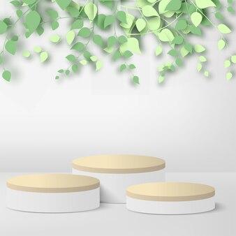 抽象的な背景3d枝と葉、白と木製の背景に抽象的な白い表彰台