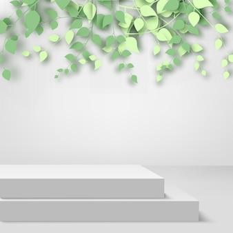 抽象的な背景3d枝と葉と白い背景の上の抽象的な白い表彰台