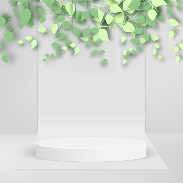 Abstract background 3d branches and leaves and abstract white podium on white background