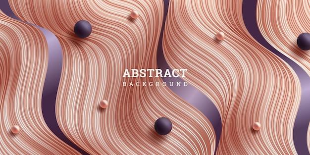 波線とビーズの抽象的な背景3d
