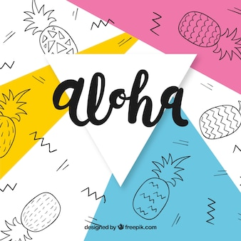 Abstract background of aloha with pineapple drawings