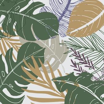 Абстрактный фон и ассорти из листьев