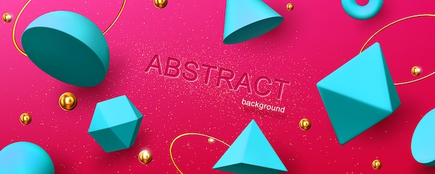 Abstract background or banner with geometric 3d shapes hemisphere, octahedron, sphere or torus, cone and pyramid on red backdrop with golden pearls and rings, creative design, illustration
