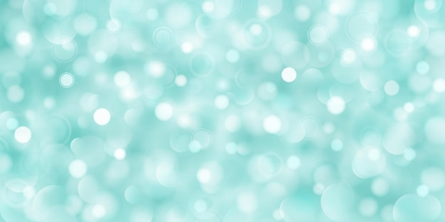 Abstract background of big and small translucent circles in turquoise colors with bokeh effect