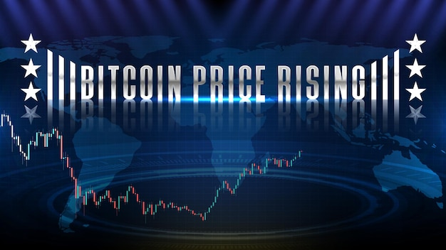 Abstract background of bitcoin us dollar btc trading cryptocurrency market , bitcoin price rising