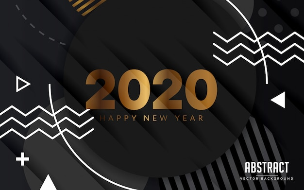 Abstract background black and gold happy new year modern