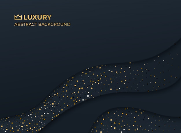 Abstract background black gold luxury elegant fluid liquid wave shape