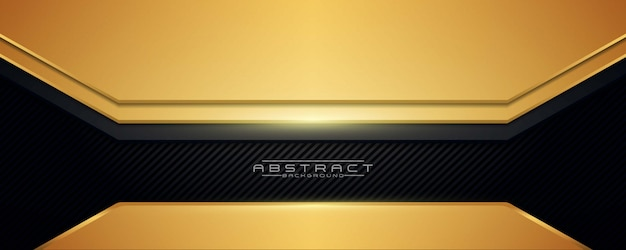 Abstract background black and gold luxury modern with a dark carbon texture