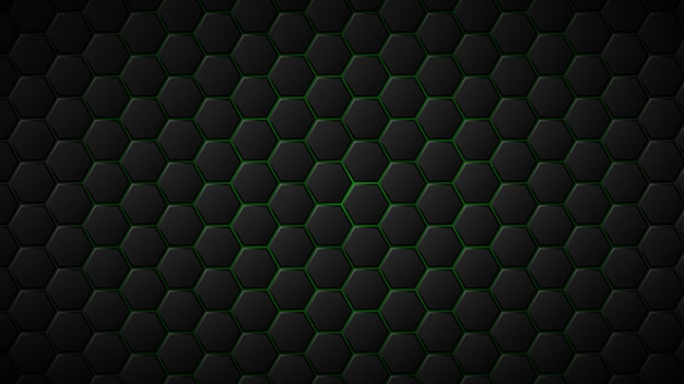 Abstract background of black hexagon tiles with green gaps between them