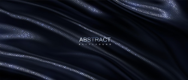 Abstract background of black wavy textile with silver glitters pattern