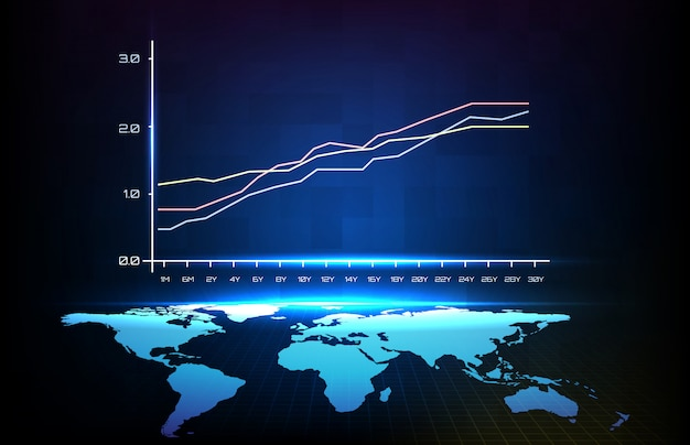 Abstract background of blue average every 6 month graph and world map