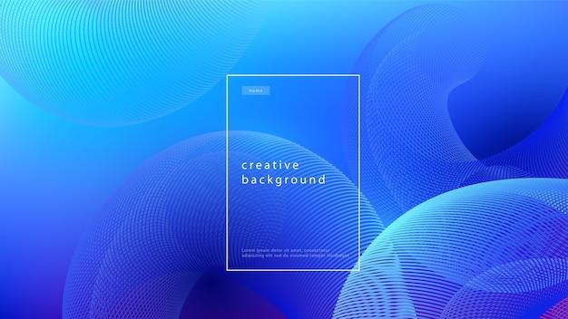 추상적 인 배경 파란색 디자인입니다. 기하학적 선과 조명 효과가있는 유체 흐름 그라데이션. 모션 최소한의 개념.