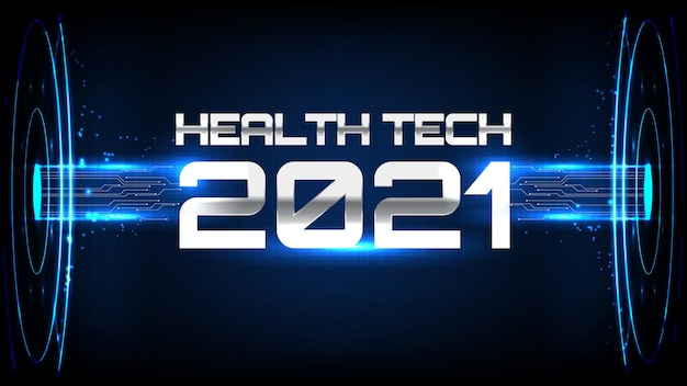 Abstract background of blue futuristic health technology care  hud display interface