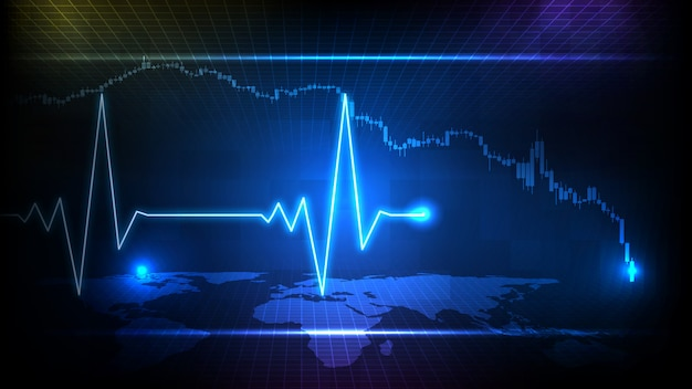 Abstract background of blue futuristic technology digital ecg heartbeat pulse line wave monitor and stock market candle graph