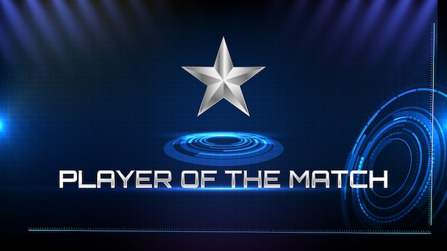 Abstract background of blue futuristic technology metal star and player of the match sign text