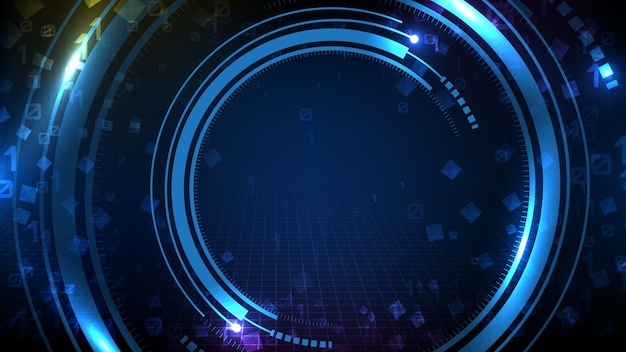 Abstract background of blue futuristic technology round hud ui display