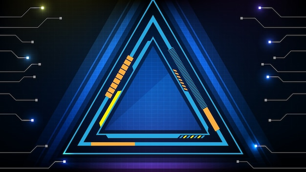 Abstract background of blue glowing triangle technology sci fi frame hud ui