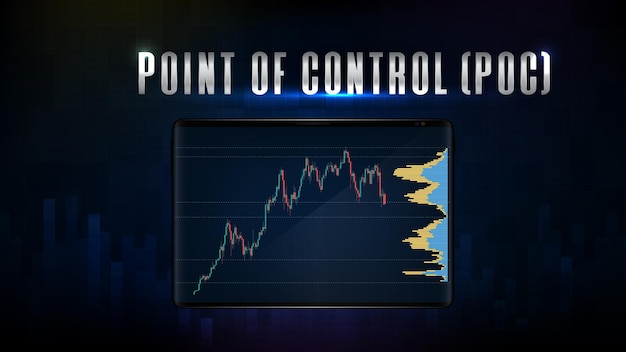 Abstract background of blue point of control (poc) stock market graph candlestick green red