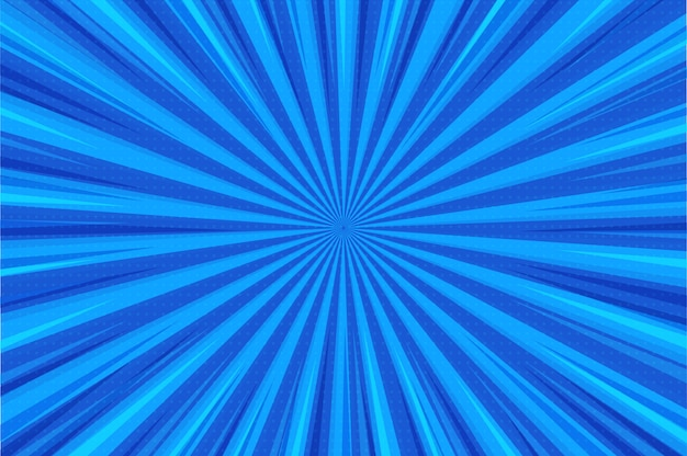 抽象的な背景。青い光線が中心からコミックスタイルで広がります。