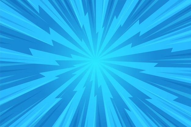 추상적 인 배경입니다. 푸른 광선이 만화 스타일로 중앙에서 퍼졌습니다.