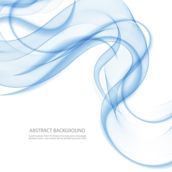 抽象的な背景、青い透明な波線。青い煙の波。