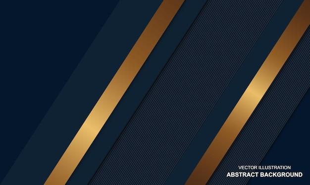 金色の線の豪華なデザインと青い抽象的な背景