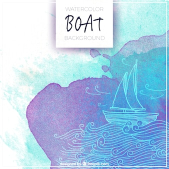 Abstract background of boat sailing in watercolor style