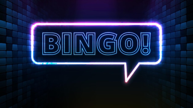 Abstract background of bright bingo text neon sign