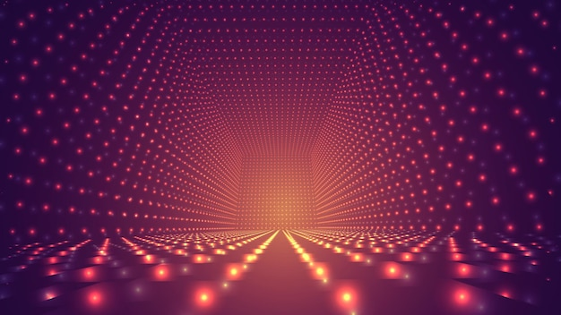 Abstract background, bright infinite tunnel of glowing segments.