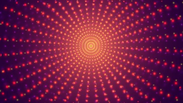 Абстрактный фон, яркий бесконечный туннель светящихся сегментов.