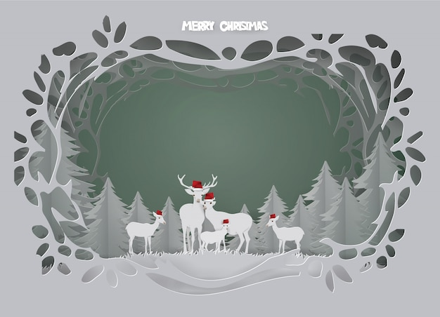 Abstract background card with deer family live in forest on winter season.