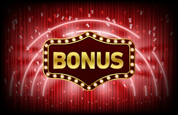 Abstract background of casino bonus vintage sign and confetti