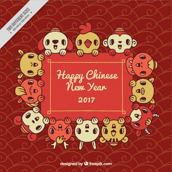 Abstract background of chinese new year 2017 with lovely animals