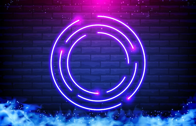 Abstract background of circle neon frame, smoke and brick wall