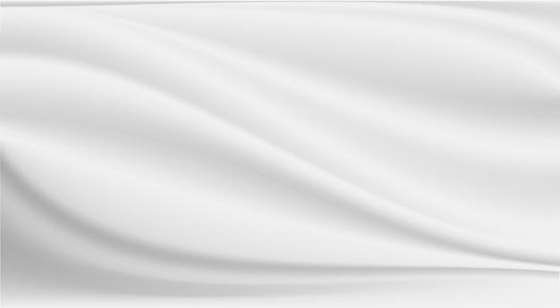 추상적 인 배경 깨끗 한 고급 천 또는 흰색 패브릭 질감 배경의 물결 주름.