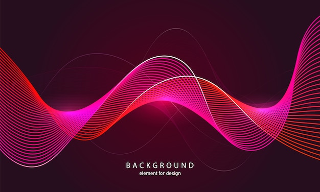 Abstract background colorful waves with lines.