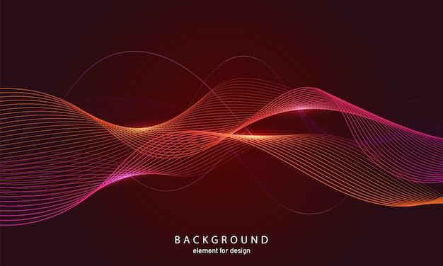 Абстрактный фон красочные волны с линиями.