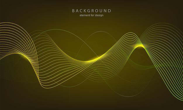 ラインと抽象的な背景のカラフルな波。
