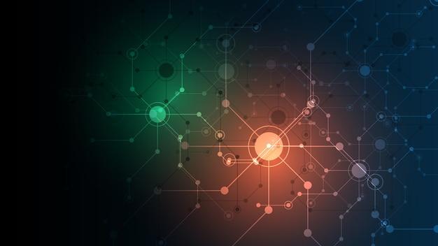 イノベーションドットとライン通信の概念を接続する抽象的な背景