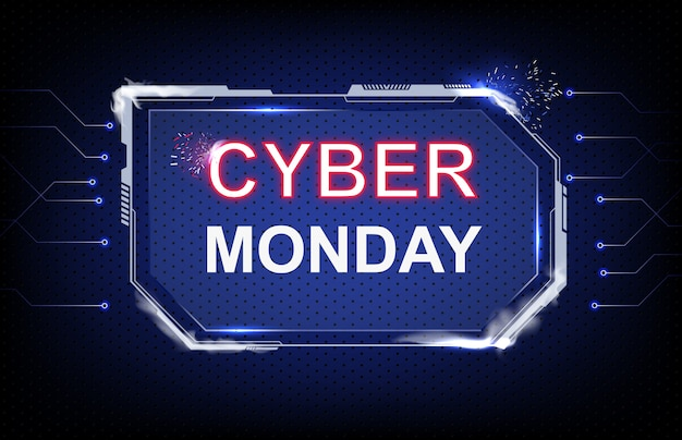 Abstract background cyber monday sale with futuristic hud sci-fi and connection line