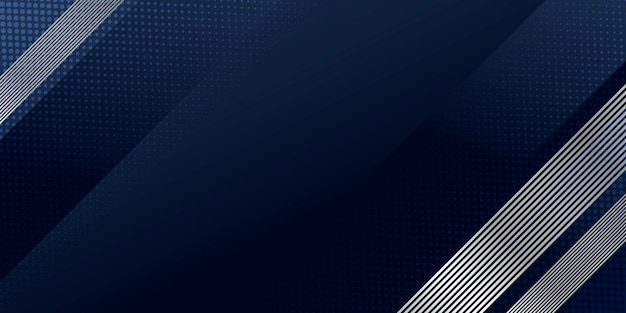 Abstract background dark blue with modern silver line stripes decoration for presentation design