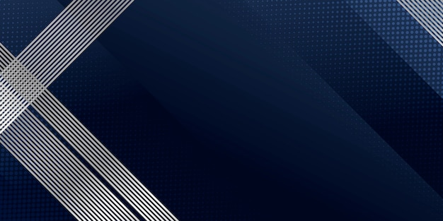 Abstract background dark blue with modern silver line stripes decoration