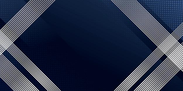 モダンなシルバーのラインストライプ装飾が施された抽象的な背景ダークブルー