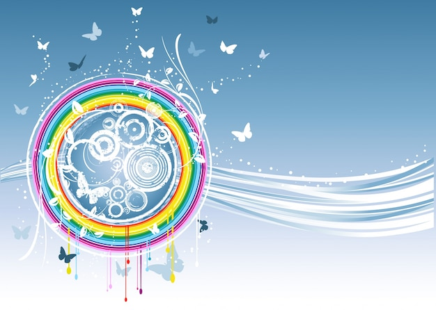 Abstract background decorated with butterfly