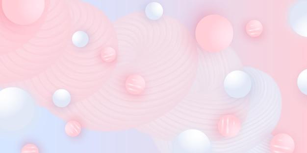 추상적 인 배경 디자인. 분홍색과 흰색 공. 3d 기하학적 모양.