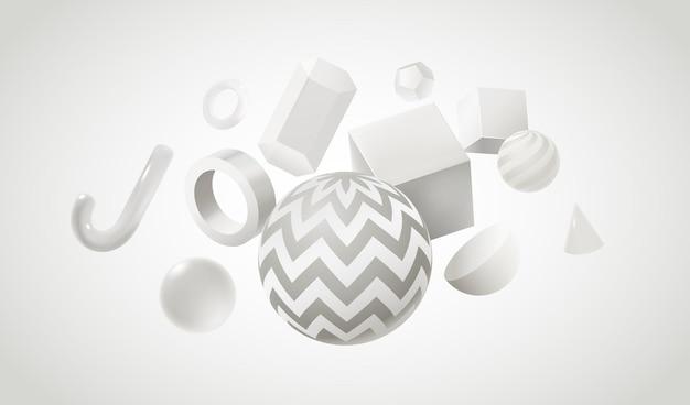 3d 흰색 기하학적 모양으로 추상적인 배경 디자인입니다. 현실적인 구체와 큐브가 있는 그래픽 크리에이티브 포스터. 벡터 기하학 수치