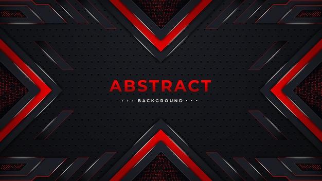 빨간색과 검은 색 색상 모양 또는 조명 효과가있는 추상 배경 디자인