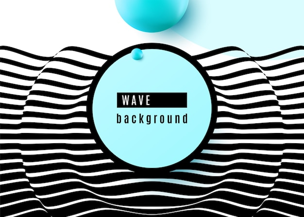 Abstract background design with stripe wavy surface black and white lines, blue sphere shape, circle, frame. 3d optical motion pop art.